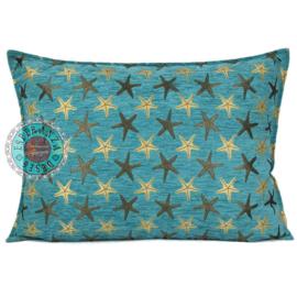 Starfish turquoise kussen ± 50x70cm