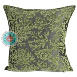 Olijf groen kussenhoes - (Koraal) takken ± 45x45cm