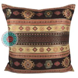 Aztec oker en bruin kussen ± 70x70cm