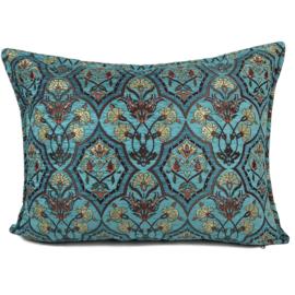Turquoise kussenhoes - Flowers turquoise en petrol ± 50x70cm
