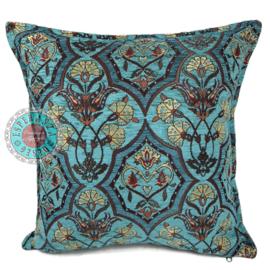 Turquoise kussen - Flowers turquoise en petrol ± 45x45cm