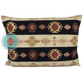 Aztec stripes zwart en creme kussen ± 50x70cm