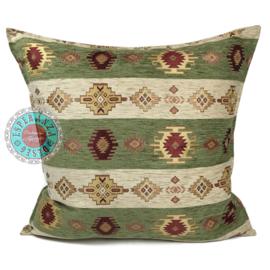 Olijf groen en creme kussenhoes - Aztec stripes ± 75x75cm