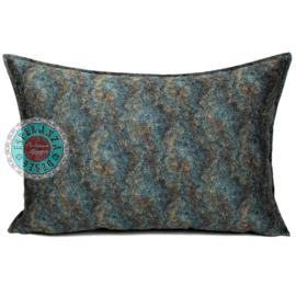 Petrol/turquoise kussenhoes - Marble stone ± 50x70cm