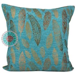 Boho Feathers turquoise kussen ± 70x70cm