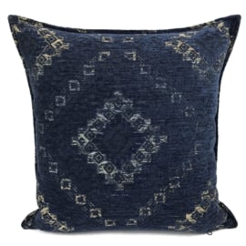 Kussenhoes donkerblauw met Kelim print ± 45x45cm
