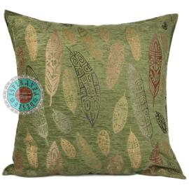 Boho Feathers olive green kussen ± 70x70cm
