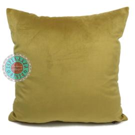Velvet oker goud kussenhoes passend bij veren/bladeren kussen ± 45x45cm