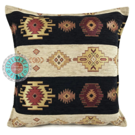Aztec stripes zwart en creme kussen ± 45x45cm