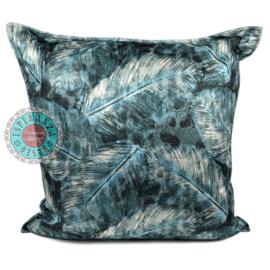 Turquoise kussenhoes met mooie veren/bladeren print ± 70x70cm