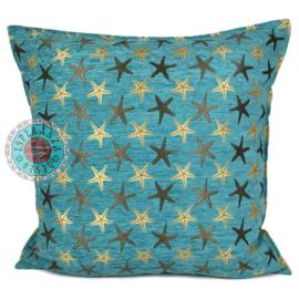 Starfish turquoise kussen ± 70x70cm