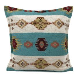 Aztec wit met turquoise blauw groene kussenhoes ± 45x45cm