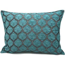 Honingraat turquoise kussenhoes ± 50x70cm (tin motief)