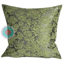 Olijf groen kussenhoes - (Koraal) takken ± 70x70cm