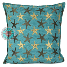 Starfish turquoise kussen ± 45x45cm