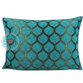 Honingraat turquoise kussen ± 50x70cm (bronskleurig)