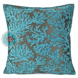 Turquoise kussen coral branches (koraal takken) ± 45x45cm