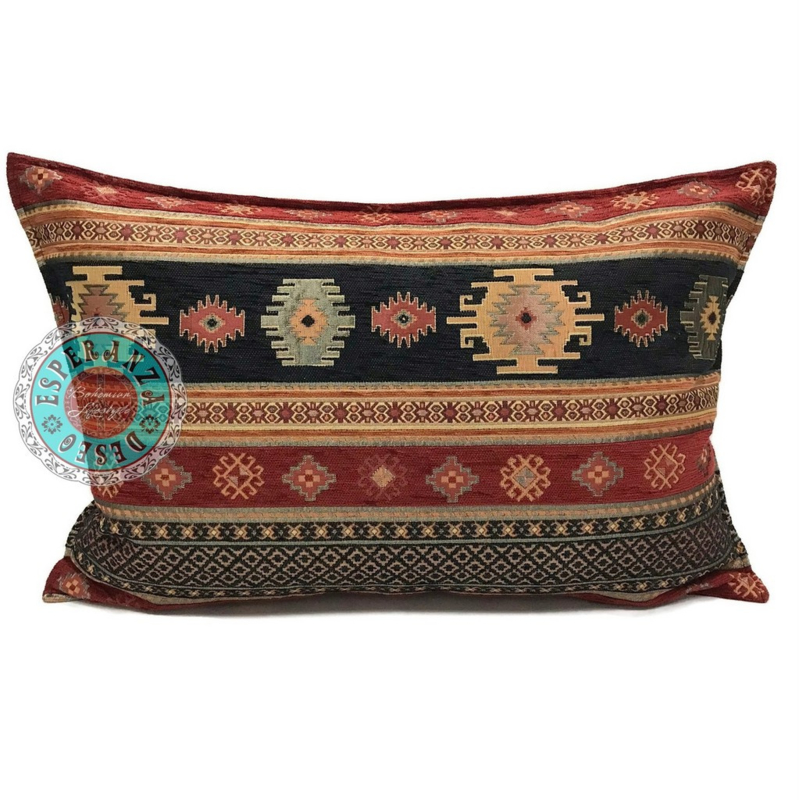 Aztec zwart en rood kussen ± 50x70cm