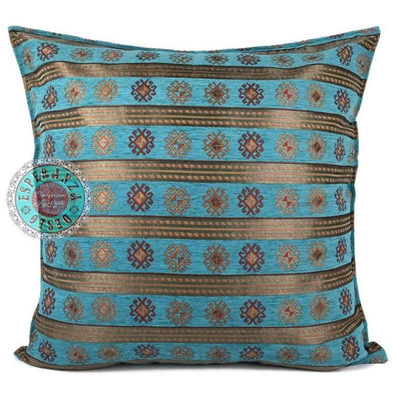 Peru stripes turquoise kussen ± 70x70cm
