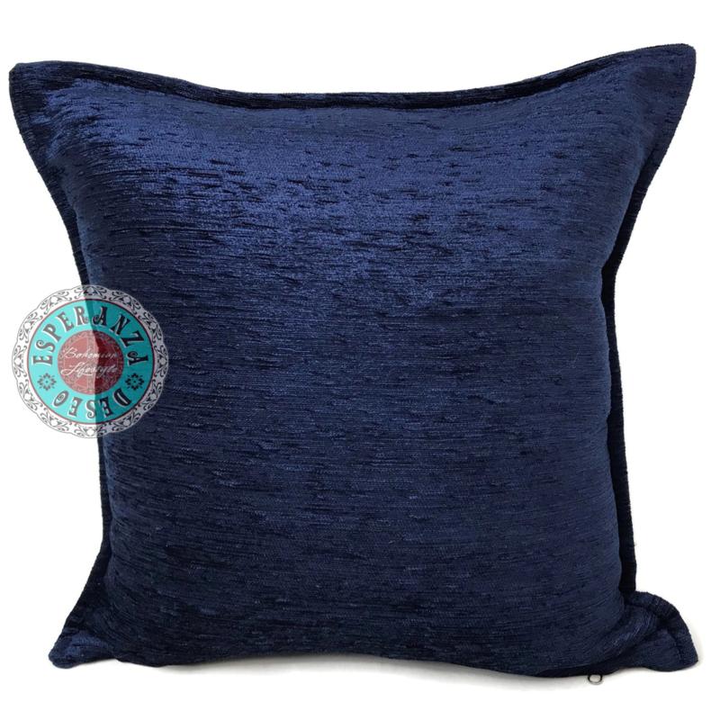 Donkerblauwe kussenhoes ± 45x45cm
