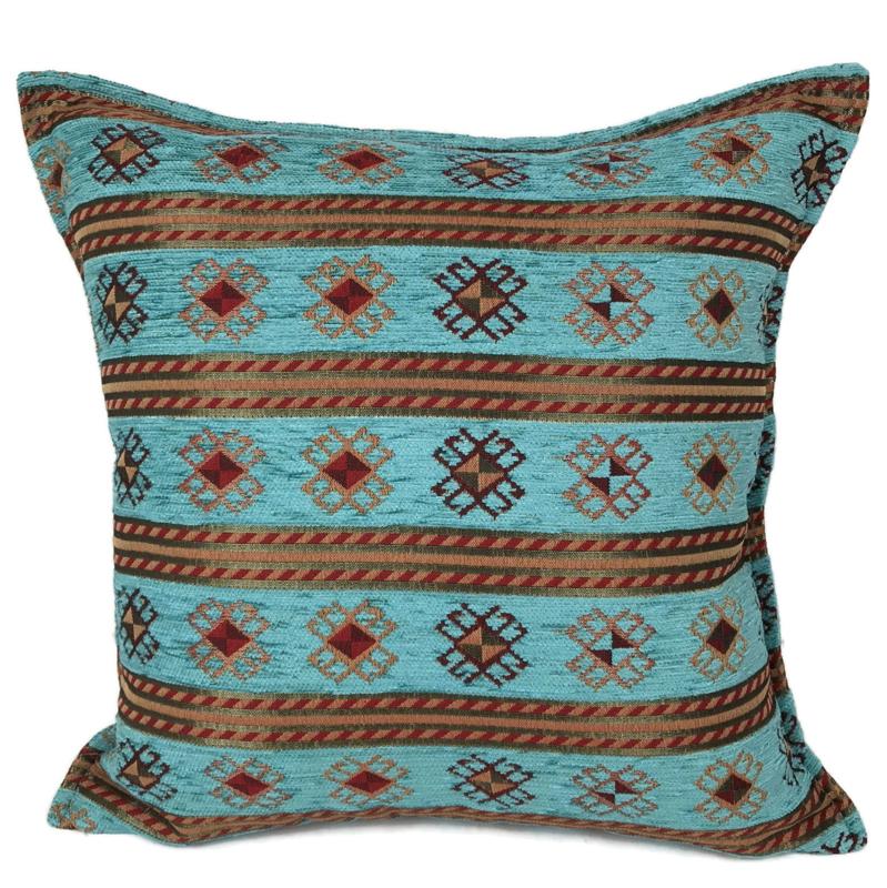 Turquoise blauw groen kussen - Peru stripes ± 45x45cm