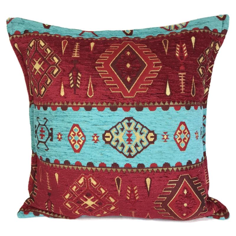 Turquoise en rood kussenhoes - Navajo 45x45cm