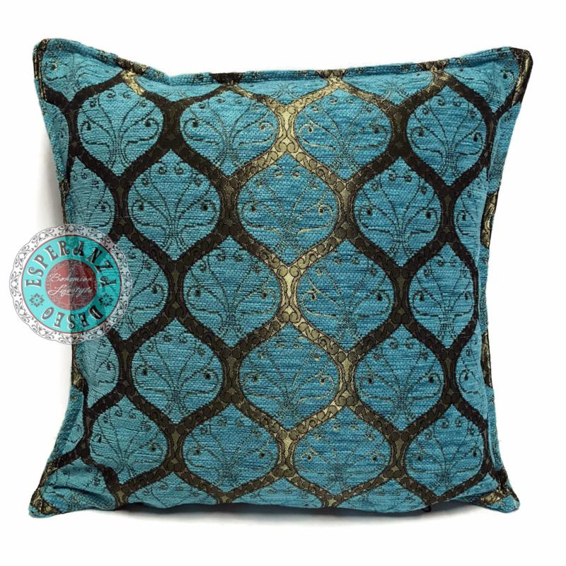 Honingraat turquoise kussen ± 50x50cm (goudkleurig) groot