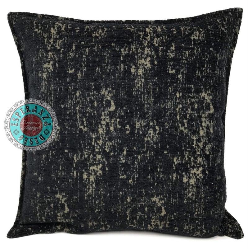 Zwart met brons kussen - Industrieel ± 45x45cm