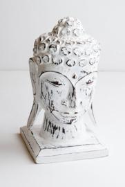 Houten handgesneden buddha hoofd