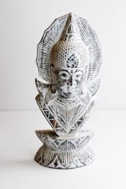 Houten handgesneden Buddha in Grey/whitewash