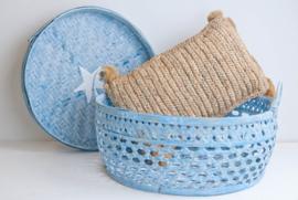 Fijne bamboe mand met handvatten - turqouise/blauw