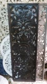 Handgesneden wandpaneel 40x120 cm - zwart