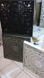 Handgesneden wandpaneel 60x60 cm - zwart