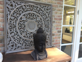 Handgesneden wandpaneel 60x60 cm - grijs