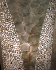 Staande schelpenlamp capiz_ mozaiek wit ovaal _40 cm