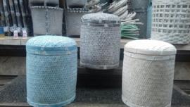 Fijne bamboe mand - met deksel 3 maten