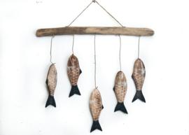 Driftwood hanger met 5 visjes