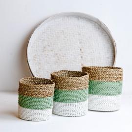 Plantenmand groen-grijs/wit/neutraal waterhyacint