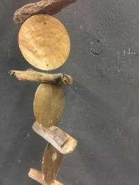 Capiz schelpen guirlande met houtjes