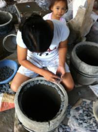 Stapelstenen pot 60 cm hoog/grijs