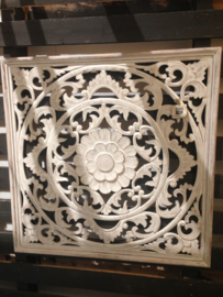 Handgesneden wandpaneel 60x60 cm - wit