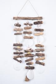 Platte schelpen/driftwood hanger