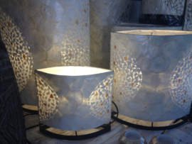 Staande schelpenlamp capiz_ mozaiek wit ovaal _30 cm