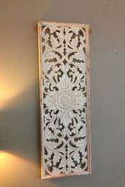Handgesneden wandpaneel 40x120 cm - wit