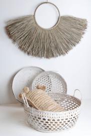 Fijne bamboe mand met handvatten - whitewash