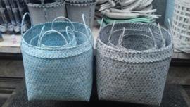 fijne bamboemand vierkant met handvatten