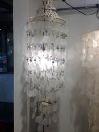 Capiz schelpen hanglamp met spiegeltje 35x100 cm wit