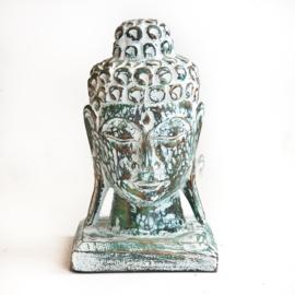 Houten handgesneden buddha hoofd Emerald