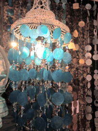 XL Capiz schelpen hanglamp/windgong met spiegeltje 100x35 cm turqouise