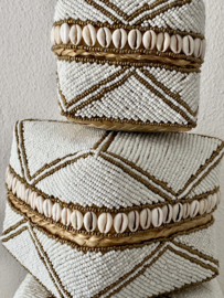 Offermand kraaltjes/schelpjes NIEUW wit/met goud